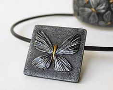 Polymer Clay Jewelry Pendant Necklace Silver Animals Dragonfly Butterfly Polymer Clay Jewelry Pendant Necklace Mothers Day Gift