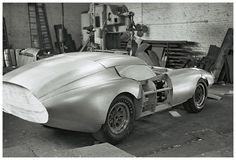 Body panels being applied to Brock's wooden body buck. The Daytona Coupe is taking form. Dave Friedman photo.