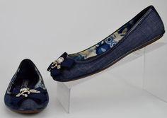 Coach Poppy Caper Women's 7.5 B Blue Denim Canvas Slip On Ballet Flat Shoe #Coach #LoafersMoccasins #Casual