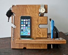 Wooden stand, desk accessories, wood iphone dock, apple watch station charger, iphone holder, holder, wood docking station, accessories