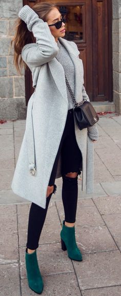 #trending #fall #outfits | Grey + Black + Pop Of Green