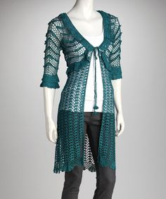 Andrea can you make this for me...????   Take a look at this Teal Crochet Duster by Papillon Imports on #zulily today!