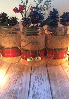 Rustic Christmas Decor - Christmas Mason Jars - Holiday Home Decor - Holiday Mason Jar - Christmas Home Decor - Rustic Table Decor by LeChicBoutiqueCo on Etsy https://www.etsy.com/listing/491447277/rustic-christmas-decor-christmas-mason                                                                                                                                                                                 More