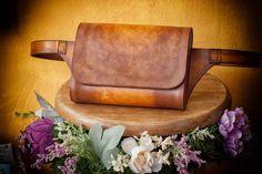 Genuine Leather Waist Bag, Brown Belt Bag, Leather Belt Bag, Saddle Belt Pouch, Small Belt Bag for Women