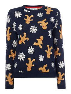 Grace The Gingerbread Christmas Jumper Dickins & Jones colour Navy