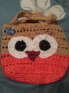Owl  -  Plarn (plastic yarn) Tote bag / purse Crocheted from recycled/up-cycled grocery, plastic and trash bags - No Pattern