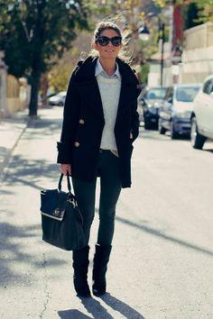 Chaleco, camisa, abrigo, bolso