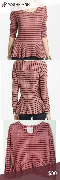 We the Free Peplum Top Beautiful wine color striped peplum top in a cotton, Polyester and modal mixture waffle fabric. Preloved, in great condition. Free People Tops Blouses