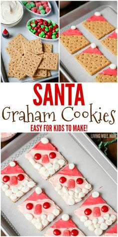With no baking involved, Santa Graham Cookies are a perfect easy Christmas cookie recipe for kids to make. They'll love decorating their cookies as much as they will eating them!(Thm No Baking Cookies) Christmas Cookies Kids, Cookie Recipes For Kids, Easy Christmas Cookie Recipes, Kids Cooking Recipes, Christmas Snacks, Christmas Cooking, Kids Meals, Holiday Recipes, Christmas Baking For Kids