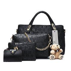 Soperwillton Women Handbag Top Handle Satchel Shoulder Tote Bag Purse Set  4PCS 934c40116