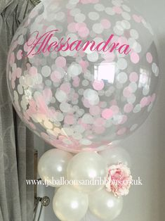 Personalised confetti bubble balloon for a baby girl's Baptism