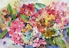 Hydrangeas by Ann Mortimer in Watercolour, Just Beautiful.