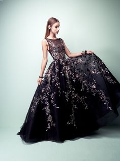 Dark gown with floral details