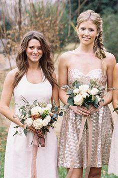 Blush neutrals are subtle, pretty and elegant, even in bridesmaid dresses. Image via Weddington Way
