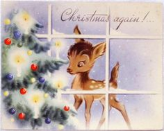 #1168 40s Bambi Deer by the Tree- Vintage Christmas Greeting Card