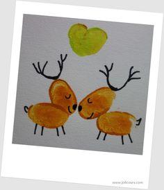 Rennes de Noël avec empreintes de doigts Footprint Art, Rooster, Invitations, Homemade, Christmas, Kids, Scrapbooking, Kids Christmas Cards, Card Ideas