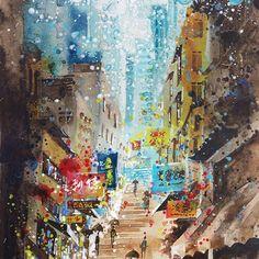 "2nd painting joining Affordable Art Fair Hong Kong, May 2015 ""Up"" Mixed media 13apr2015  #tilenti #tilen #theartcommunity #watercolor #watercolour  #watercolours #watercolors #painting #paintings #splattered #drip #dripped  #artfido #art #_tebo_ #artists_magazine #spotlightonartists #arts_help  #worldoftalents  #art_spy #art4youu #shaded_canvas #art_spotlight #aartistic_dreamers #hongkong"