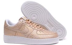 Mens Nike Air Force 1 Low Shoes Gold White
