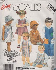 McCalls 2952 1980s Toddlers Jumpsuit Dress Shirt Hat and toys vintage sewing pattern by mbchills