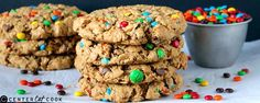 These Jumbo Monster Cookies are full of peanut butter, oatmeal, chocolate chips, and M&M's. Easy to make, soft, thick, and delicious!