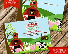 Farm Animals Birthday Invitation (Digital File)