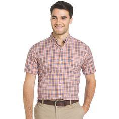 Men's IZOD Advantage Sportflex Regular-Fit Plaid Stretch Button-Down Shirt, Orange
