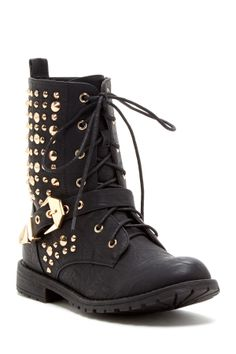 Minky Ankle Boot with studs