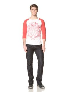 66% OFF Pierre Balmain Men\'s Coat of Arms Baseball Tee (Red/White)