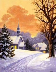 ART~ Gorgeous Painting Of Snowy Landscape Set Against Coral Sky ~ Linda Picken.