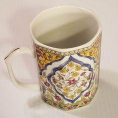 Takahashi San Francisco Octagon Shape Porcelain Mug Cup Floral Blue Yellow #Takahashi
