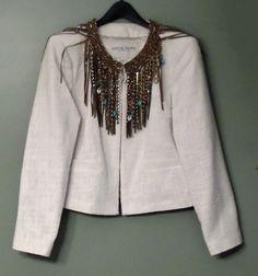BOSTON PROPER Women's Jacket Blazer Fringe JEWELED Boho Chic Size 14 L Off White #BostonProper #BasicJacket