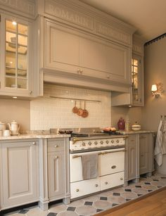 """Our 40"""" Cluny in Ivory and Brass, in a stunning, oh-so-French kitchen! www.french-barn.com/lacanche-cluny.php"""