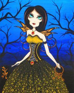 8 x 10 imprimer Fantasy gothique victorienne fée Pixie femme fille clés surréalisme Pop Lowbrow Art Reproduction par Natalie VonRaven