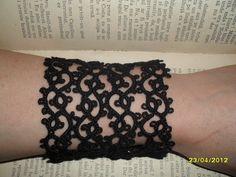 Tatting Frivolite Lace Bracelet  Tatted Black by carmentatting, $24.00