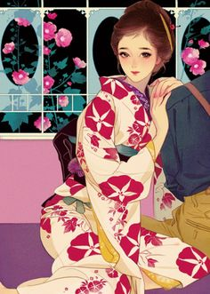 山田順子のイメージ画 マツオヒロミ/画 Anime Kimono, Japan Illustration, Geisha, Postcard Art, Anime Kunst, Japanese Painting, Japanese Artists, Pretty Art, Manga Art