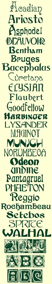 Art Nouveau fonts... caligraphy is one of the most time consuming and precise of the arts. The wider your assortments of fonts you memorize the easier your job will be.  Carol