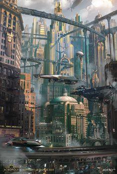 steampunk architecture Geek Steampunk architecture , s. Cyberpunk City, Ville Cyberpunk, Cyberpunk Kunst, Cyberpunk Aesthetic, Retro Futuristic, Futuristic Architecture, Arch Architecture, City Aesthetic, Ville Steampunk
