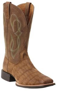 Ariat® Quantum Brander™ Men's Tan Gator Print with Brown Top Square Toe Western Boots   Cavender's