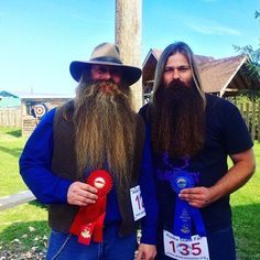 First and second place winners of the beard competition. Some facial hair…