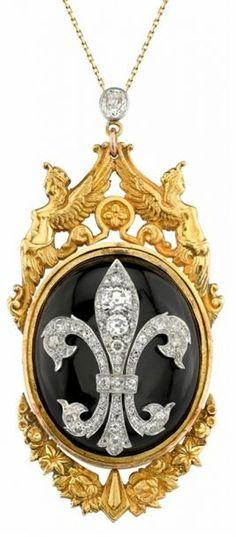 Art Nouveau era 15 karat gold, black onyx and Old Cut diamond pendant with a fleur de lis motif set with 71 Old Mine Cut diamonds weighing 3.82 Carats in total. London 1908.
