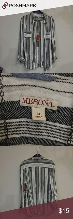 Merona button up shirt NWT This is a NWT black and white button up shirt by Merona. Super soft! Tags still attached! Merona Tops Button Down Shirts