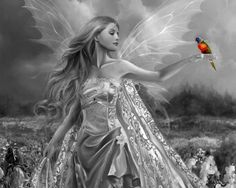 Dark Fairy Drawings To Color | FAIRY and BIRDY, black and white, colors, fairy, fantasy art, parrot