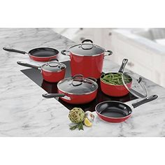 10piece Red Cuisinart Greenchef Induction Ready Ceramic Nonstick Cookware Set -- Learn more by visiting the image link.-It is an affiliate link to Amazon.
