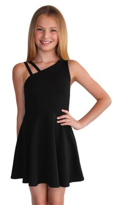 Black textured knit fit and flare dress with double shoulder strap. Details & Care polyester spandex Hand Wash Cold with like colors, Do Not Bleach, Lay Flat to Dry, Cool iron if needed. Girls Formal Dresses, Dresses Kids Girl, Kids Outfits Girls, Cute Girl Outfits, Cute Outfits For Kids, Dresses For Teens, Preteen Girls Fashion, Girls Fashion Clothes, Girl Fashion