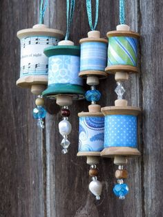 Vintage Thread Spool Mini Wreath How-to.In this DIY tutorial, you will learn how to make mini wreaths from vintage spools of thread. Perfect for ornaments, gift toppers or home decor.Items similar to Vintage Thread spool Christmas Ornament Crafts, Felt Ornaments, Handmade Christmas, Crafts To Make, Holiday Crafts, Christmas Crafts, Beaded Ornaments, Glass Ornaments, Christmas Decorations