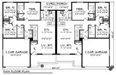 First Floor Plan of Ranch   Multi-Family Plan 73450