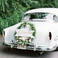 Vintage wedding getaway car...