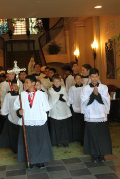 Altar boys readying for The Great Marian Procession - West Coast in Sacramento, CA