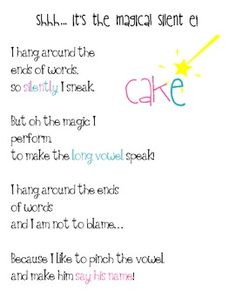Magic Silent E Poem! {FREE}
