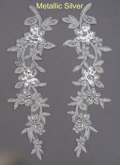 2 X Embroidered Venise Lace Sequins & bead Applique Trim Motif Col: M Silver # 1 | eBay